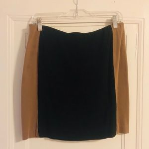 Ann Taylor Black with brown paneling skirt!